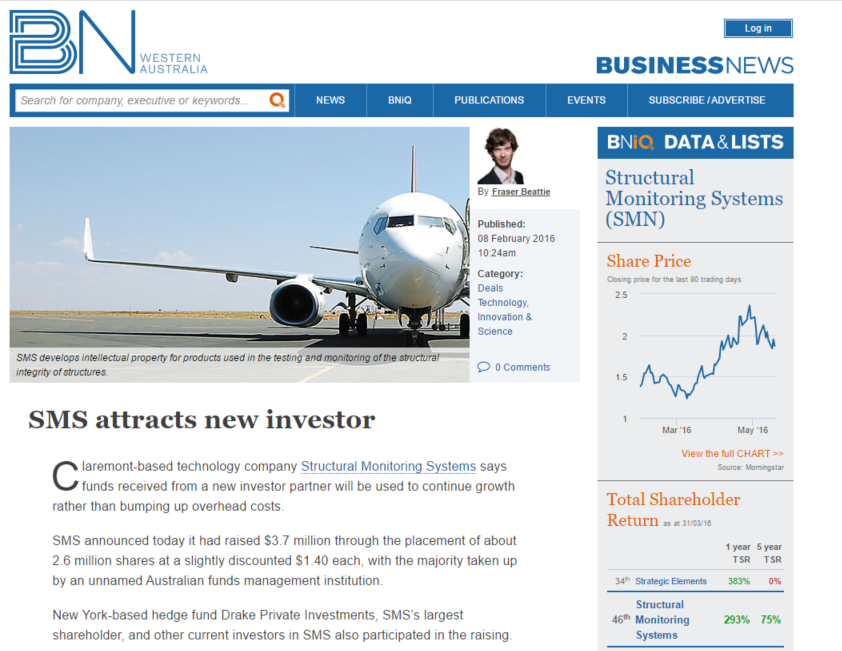 SMS attracts new investor
